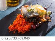 Купить «Appetizing mackerel roll with carrots and lard», фото № 33409040, снято 3 апреля 2020 г. (c) Яков Филимонов / Фотобанк Лори