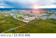 Aerial view of modern small town. Sunset over the city (2020 год). Стоковое фото, фотограф Евгений Ткачёв / Фотобанк Лори