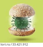 Купить «Burger bun with 3D model of Coronavirus molecule.», фото № 33421912, снято 7 июля 2012 г. (c) Ярослав Данильченко / Фотобанк Лори