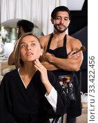 man makeup artist near client woman. Стоковое фото, фотограф Яков Филимонов / Фотобанк Лори