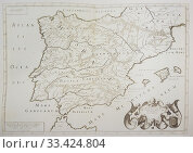 Map of Spain and Portugal, 1621. Draw from Antiquorum Hispaniae Episcopatuum Geographica descriptio by M. Tavernier. Стоковое фото, фотограф Juan García Aunión / age Fotostock / Фотобанк Лори