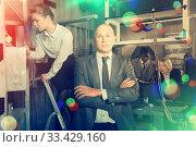 Купить «Toned image of confident businessman in quest room lab», фото № 33429160, снято 29 января 2019 г. (c) Яков Филимонов / Фотобанк Лори