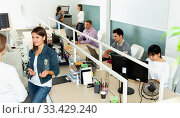 Купить «Portrait of young female freelancer confidently smiling at workplace in coworking space», фото № 33429240, снято 2 июня 2020 г. (c) Яков Филимонов / Фотобанк Лори