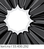 Купить «Pop art style speech bubble design on rays background. Effect motion lines for comic book and manga. Rays with effect explosion. Text banner. Comics pop-art style template for your design», иллюстрация № 33430292 (c) Dmitry Domashenko / Фотобанк Лори