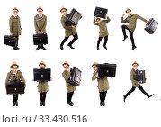 Купить «Young man with briefcase isolated on white», фото № 33430516, снято 27 октября 2013 г. (c) Elnur / Фотобанк Лори