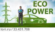 Купить «Electric car and green energy concept», фото № 33431708, снято 15 июля 2020 г. (c) Elnur / Фотобанк Лори