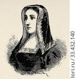 Portrait of Juana I of Castile, called la Loca (Toledo 1479 - Tordesillas 1555) Queen of Castile from 1504 to 1555, and of Aragon and Navarra, from 1516... (2020 год). Редакционное фото, фотограф Jerónimo Alba / age Fotostock / Фотобанк Лори