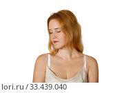 Купить «Portrait of a redheaded young woman with closed eyes», фото № 33439040, снято 27 октября 2019 г. (c) Алексей Кузнецов / Фотобанк Лори