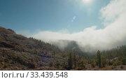 Купить «A beautiful view of a mountain slope with pine trees covered in fluffy cloud», видеоролик № 33439548, снято 26 января 2020 г. (c) Данил Руденко / Фотобанк Лори