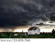 Купить «Prairie Storm Clouds Canada Saskatchewan Summer Country Church», фото № 33439764, снято 27 мая 2020 г. (c) age Fotostock / Фотобанк Лори