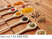 Купить «spoons with different spices on wooden table», фото № 33444592, снято 6 сентября 2018 г. (c) Syda Productions / Фотобанк Лори