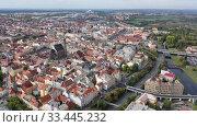 Купить «Aerial view on the city Plzen. Czech Republic», видеоролик № 33445232, снято 11 октября 2019 г. (c) Яков Филимонов / Фотобанк Лори