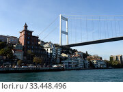 Купить «Fatih Sultan Mehmet Bridge over Bosporus Strait, Istanbul, Turkey», фото № 33448496, снято 3 ноября 2019 г. (c) Free Wind / Фотобанк Лори