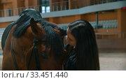 Купить «Hippodrome - young horsewoman standing with her horse and smiling», видеоролик № 33451440, снято 4 июня 2020 г. (c) Константин Шишкин / Фотобанк Лори