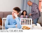 Купить «Son suffering from parents conflicts», фото № 33451936, снято 23 мая 2019 г. (c) Яков Филимонов / Фотобанк Лори