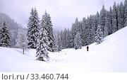 Купить «Einsamer Wanderer stapft in tief verschneitem Winterwald durch den hohen Neuschnee. Querformat. Lonely hiker trudges through the fresh snow in a deeply snow-covered winter forest. Horizontal format.», фото № 33460744, снято 31 мая 2020 г. (c) easy Fotostock / Фотобанк Лори
