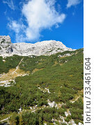 Купить «Predil Pass between Italy?Slovenia border in autumn. Auf dem Predilpass in Slowenien.», фото № 33461604, снято 2 апреля 2020 г. (c) easy Fotostock / Фотобанк Лори