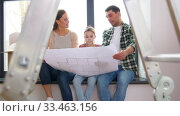 Купить «happy family with blueprint moving to new home», видеоролик № 33463156, снято 22 марта 2020 г. (c) Syda Productions / Фотобанк Лори
