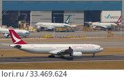Купить «Airplane departure from International Airport, Hong Kong», видеоролик № 33469624, снято 10 ноября 2019 г. (c) Игорь Жоров / Фотобанк Лори