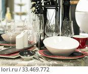 Купить «Set of dishes on table», фото № 33469772, снято 5 августа 2016 г. (c) Ольга Сергеева / Фотобанк Лори