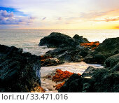 Sunset at volcanic stones beach. Big island. Hawaii. Стоковое фото, фотограф Zoonar.com/Dmitry Kushch / age Fotostock / Фотобанк Лори