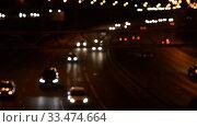 Купить «Night Car traffic highway city», видеоролик № 33474664, снято 1 июля 2018 г. (c) Mikhail Erguine / Фотобанк Лори