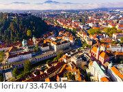 Купить «Historical center of Ljubljana with Castle Hill», фото № 33474944, снято 4 сентября 2019 г. (c) Яков Филимонов / Фотобанк Лори
