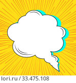 Купить «Speech bubble on rays with effect explosion background and halftone dots. Effect motion lines for comic book and manga. Vector bright dynamic cartoon illustration. Pop-art style template for design», иллюстрация № 33475108 (c) Dmitry Domashenko / Фотобанк Лори