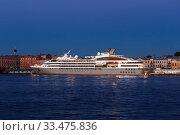 Купить «Ocean cruise liner PONANT at the pier of the English embankment at white night in Saint Petersburg. Russia», фото № 33475836, снято 27 мая 2018 г. (c) Наталья Волкова / Фотобанк Лори