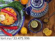 Узбекский плов с чаем. Стоковое фото, фотограф Марина Володько / Фотобанк Лори