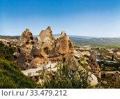 Купить «The view of the ancient city and fortress Uchisar, Cappadocia, Turkey», фото № 33479212, снято 19 мая 2015 г. (c) Наталья Волкова / Фотобанк Лори