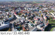 Купить «Aerial view of historical Silesian city of Opava on sunny autumn day, Czech Republic», видеоролик № 33480440, снято 17 октября 2019 г. (c) Яков Филимонов / Фотобанк Лори