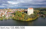 Купить «Scenic view of the medieval castle of Plumlov. City of Plumlov. Czech Republic», видеоролик № 33480500, снято 16 октября 2019 г. (c) Яков Филимонов / Фотобанк Лори