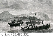 Купить «The wreck of LA Perouse french navigator in the Pacific Ocean.Survivors of La Perouse expedition ships, departed Vanikoro island in early 1789 1863», фото № 33483332, снято 5 апреля 2020 г. (c) age Fotostock / Фотобанк Лори