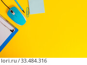 Купить «Metal clipboard blank paper sheet clip mouse pencil note colored background», фото № 33484316, снято 8 апреля 2020 г. (c) easy Fotostock / Фотобанк Лори