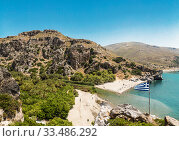 Top view of Preveli beach and river Megalo Potamos (Megalopotamo) in the place where it flows into the Libyan sea, Crete, Greece (2017 год). Стоковое фото, фотограф Наталья Волкова / Фотобанк Лори