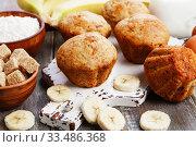 Купить «Sweet banana muffins», фото № 33486368, снято 4 апреля 2020 г. (c) Надежда Мишкова / Фотобанк Лори