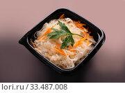 Купить «Cabbage in marinade salad view», фото № 33487008, снято 28 января 2020 г. (c) Гурьянов Андрей / Фотобанк Лори