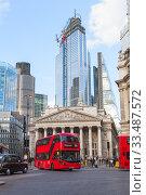 Купить «Modern Red double-decker bus in London city», фото № 33487572, снято 25 апреля 2019 г. (c) EugeneSergeev / Фотобанк Лори