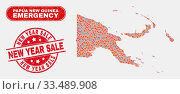 Купить «Vector collage of disaster Papua New Guinea map and red round textured New Year Sale seal stamp. Emergency Papua New Guinea map mosaic of burning, energy lightning items.», фото № 33489908, снято 26 мая 2020 г. (c) age Fotostock / Фотобанк Лори