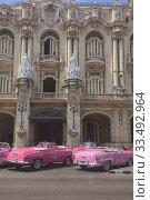 Купить «Classic cars in front of the Gran Teatro, Havana, Cuba.», фото № 33492964, снято 5 марта 2020 г. (c) age Fotostock / Фотобанк Лори