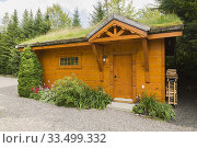 Купить «Golden-brown stained piece sur piece Eastern white pine log and timber frame 2 car garage with carved wood details and Gramineae or Poaceae - Grass and...», фото № 33499332, снято 2 августа 2017 г. (c) age Fotostock / Фотобанк Лори