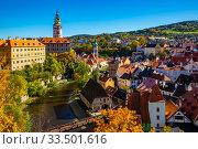 Cesky Krumlov overlooking Castle, Czech Republic. Стоковое фото, фотограф Яков Филимонов / Фотобанк Лори