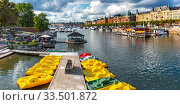 Купить «Strandvagen in Stockholm, Sweden», фото № 33501872, снято 29 августа 2018 г. (c) Коваленкова Ольга / Фотобанк Лори