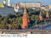Moscow. Vodovzvodnaya tower of the Moscow Kremlin. 25.08.2019. Редакционное фото, фотограф Юрий Шурчков / Фотобанк Лори
