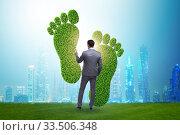 Купить «Carbon footprint concept with businessman», фото № 33506348, снято 28 мая 2020 г. (c) Elnur / Фотобанк Лори