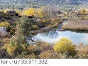 Laguna de Uña, near the village of Uña, Cuenca Province, Castilla la Mancha, Spain. The lagoon forms a part of the Parque Natural Serranía de Cuenca. Стоковое фото, фотограф Ken Welsh / age Fotostock / Фотобанк Лори