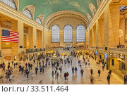 Main Concourse at Grand Central Terminal, New York City, New York State, United States of America. The Terminal, opened in 1913, is designated a National Historic Landmark. Стоковое фото, фотограф Ken Welsh / age Fotostock / Фотобанк Лори