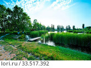 Купить «Spring lake in Crimea, lake coastand sky», фото № 33517392, снято 9 апреля 2020 г. (c) age Fotostock / Фотобанк Лори