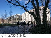 New residential and office buildings in the Europa-City Am Hamburger Bahnhof in Berlin-Moabit (2019 год). Редакционное фото, агентство Caro Photoagency / Фотобанк Лори